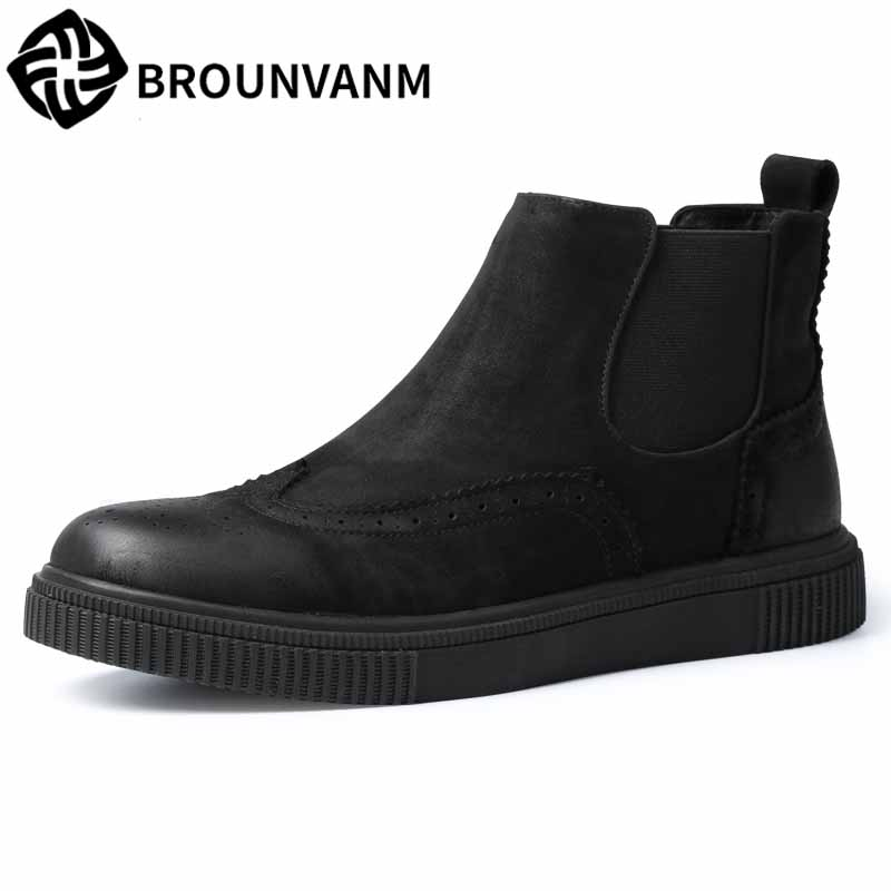 Men's high top shoes Korean all-match cowhide autumn winter British retro Chelsea boots men breathable Martin boots casual male