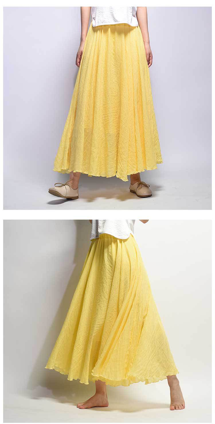Sherhure 19 Women Linen Cotton Long Skirts Elastic Waist Pleated Maxi Skirts Beach Boho Vintage Summer Skirts Faldas Saia 19