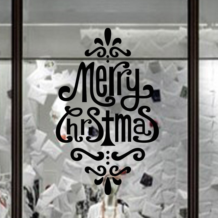 Christmas writing ceiling windows shap store display glass window diy wall stickers home decor self adhesive removable 4268cm in wall stickers from home