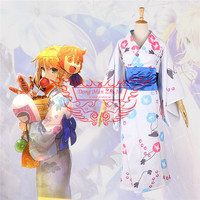 371a7d27068ce 2019 New Anime Cosplay Costume Fate Stay Night Altria Pendragon Printing  Kimono Japanese Style