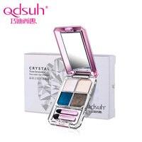 Qdsuh Marke Neue Kristall 3D Vier farben Lidschatten-palette Lidschatten Schatten Weichen Pinsel Make-Up Gesicht Textmarker
