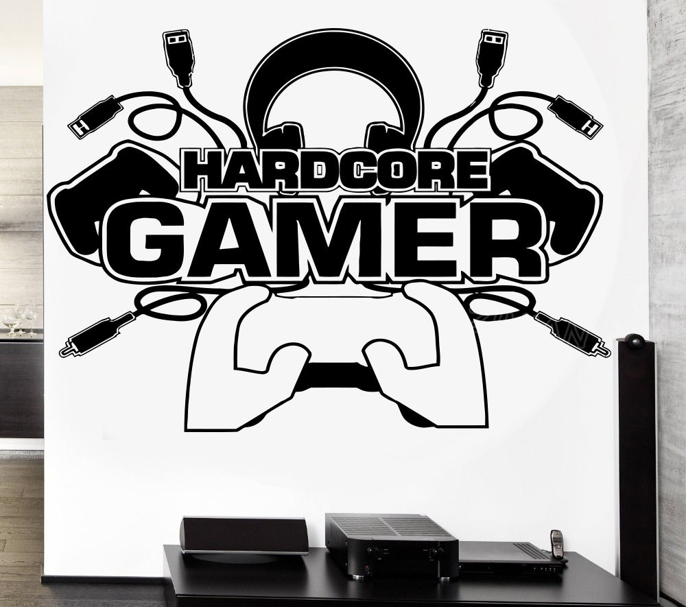 Hardcore Gamer Decal Video Game Sticker Play Gaming Posters Gamer Vinyl Wall Decals Mural Boys Room Decor Wallpaper Z592 Wall Stickers Aliexpress
