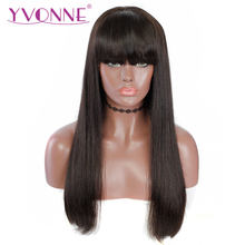 YVONNE BOB Human Hair Wigs With Bangs Brazilian Straight Virgin Hair Lace Front Wig Natural Color(China)
