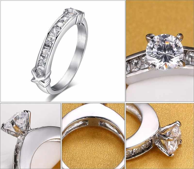 Meaeguet แฟชั่นหินงานแต่งงานแหวนแหวนหมั้นเครื่องประดับสแตนเลสแหวนผู้หญิงแหวนขายส่ง