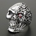 Red CZ Eye Solid 316L Stainless Steel Skull Mens Biker Rocker Punk Ring 2N001 US Size 7 to 14