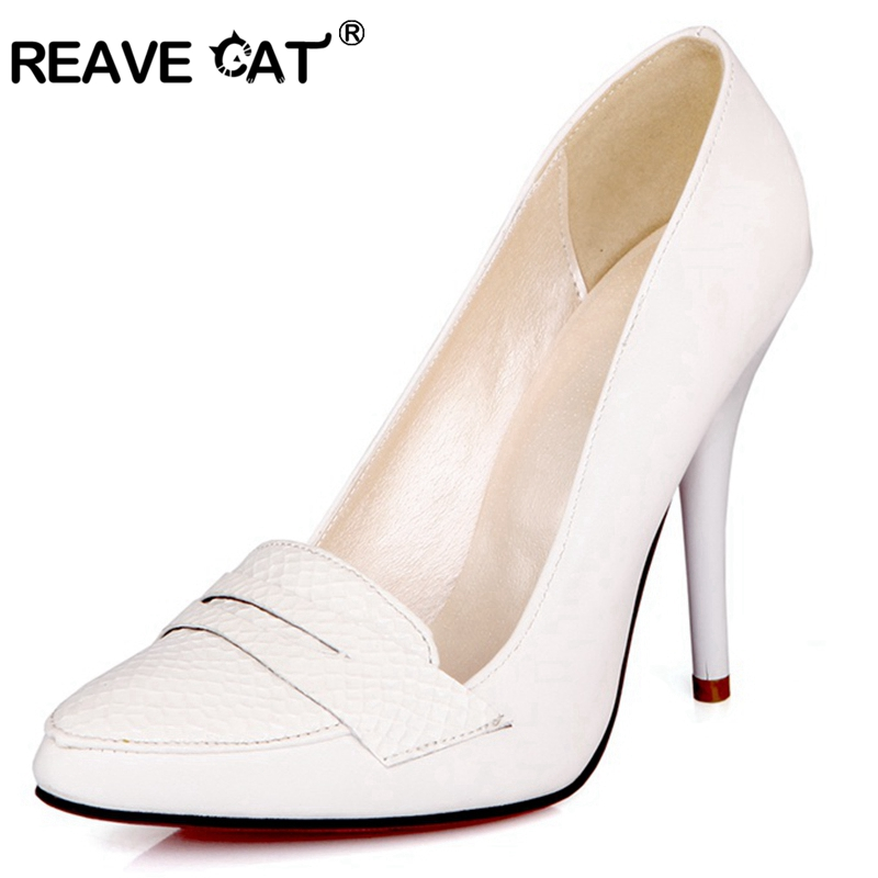 REAVE CAT Spring Summer Women's Pumps Ladies High Heel Shoes Pointed Toe Slip On Thin Heel Black White Plus Size 44  45 48 A1899