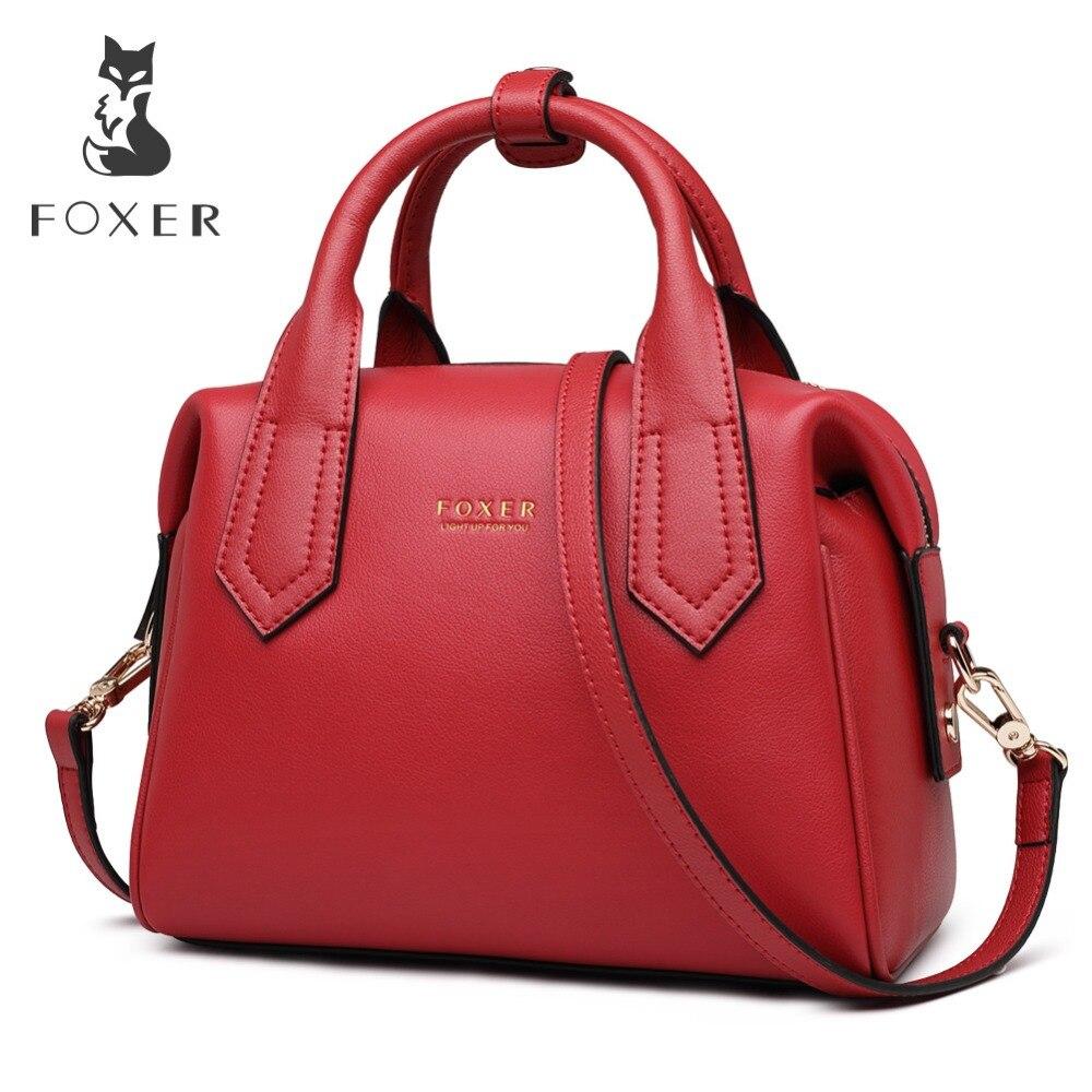 FOXER Women Chic Boston Bag Female box shaped Handbag High capacity Tote Bags Lady Bridal Bag
