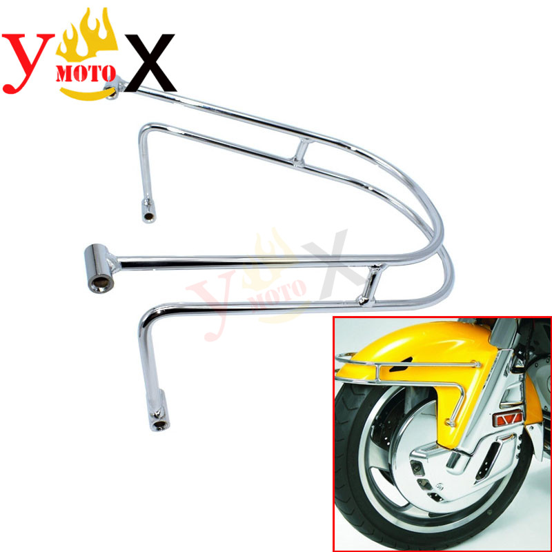 Touring Motorcycle Front Fender Rail Trim Guard Fall Crash Protector Bumper Chrome For Honda Goldwing GL1800