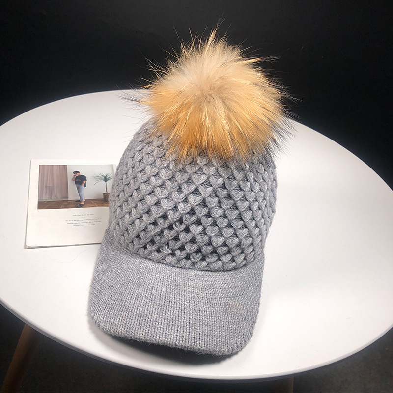 ROSASSY New Knitted Baseball Caps with 1 Piece Faux Pompom Fur Ball for Ladies Girls Fashion Women Winter Hat Caps Bonnet Femme