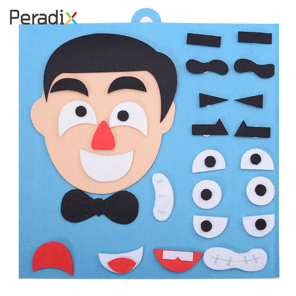 Interesting Expression Felt Puzzle Face Family Children DIY Felt Puzzle Toys Gifts Cloth Puzzle