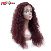 Kinky Curly Red lace front wig synthetic Silky Strands 13*4 lace Natural Black Good Quality Womens Wigs With Baby Hair