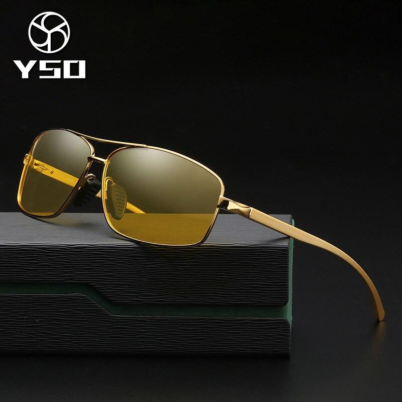 YSO Homens Óculos de Visão Noturna de Alumínio E Magnésio Frame Polarized Óculos de Visão Noturna Para A Condução Do Carro Anti Brilho Vidros 2458
