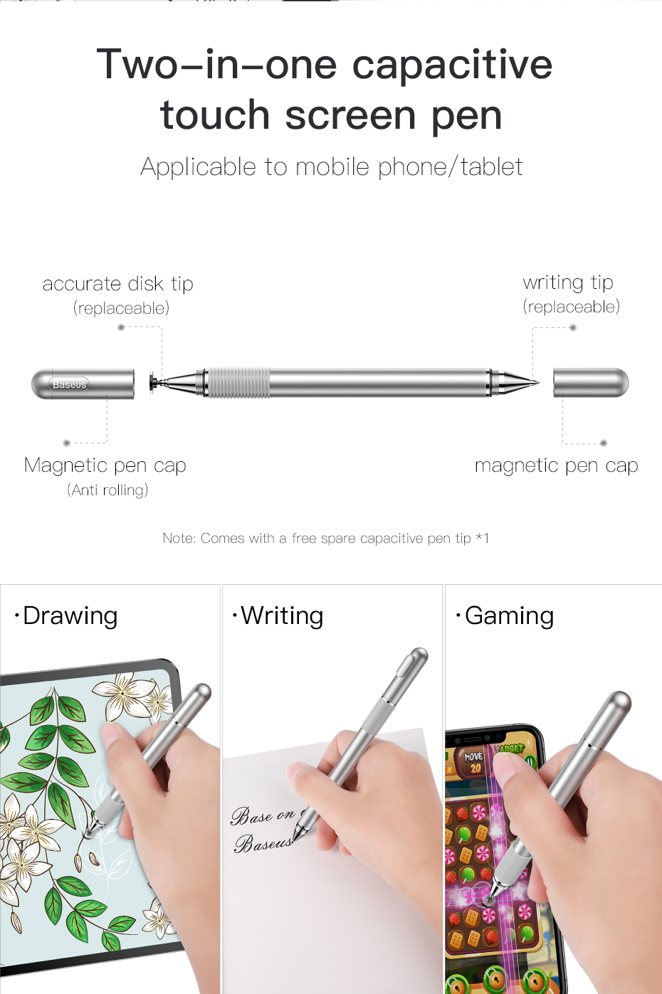 Baseus 2 in 1 Capacitive Touch Screen Stylus Pen For Apple Android Tablets