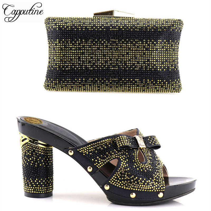 Capputine Black Color Italian Rhinestones Shoes With Matching Bags Set High Quality African Shoes And Bags Set For Wedding Dress capputine 2017 beautiful african style shoes and matching bag set italian rhinestones shoes and bags set for wedding dress g37