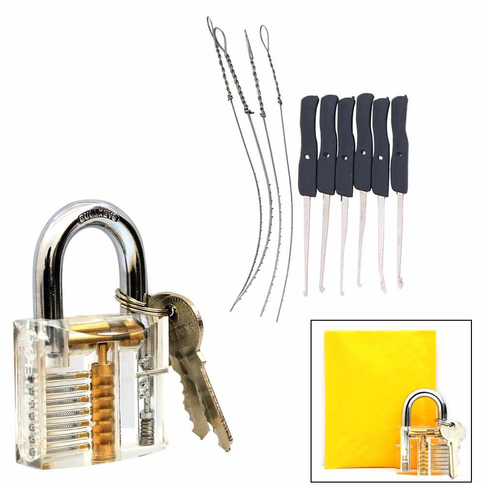 Tukang kunci Alat Transparan Terlihat Pick Cutaway Praktek Gembok Lock W/Patah Key Extractor Menghapus Kait Kunci Set