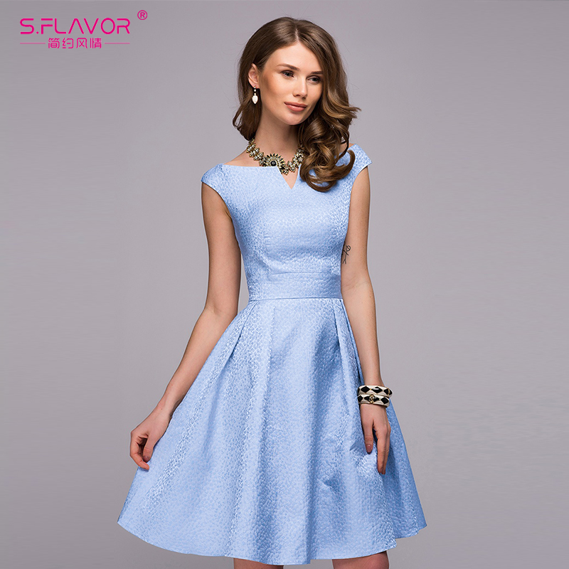 S.FLAVOR Women elegant A-line dress 2018 Spring Summer fashion sleeveless V-neck sexy knee-length vestidos Women casual dress