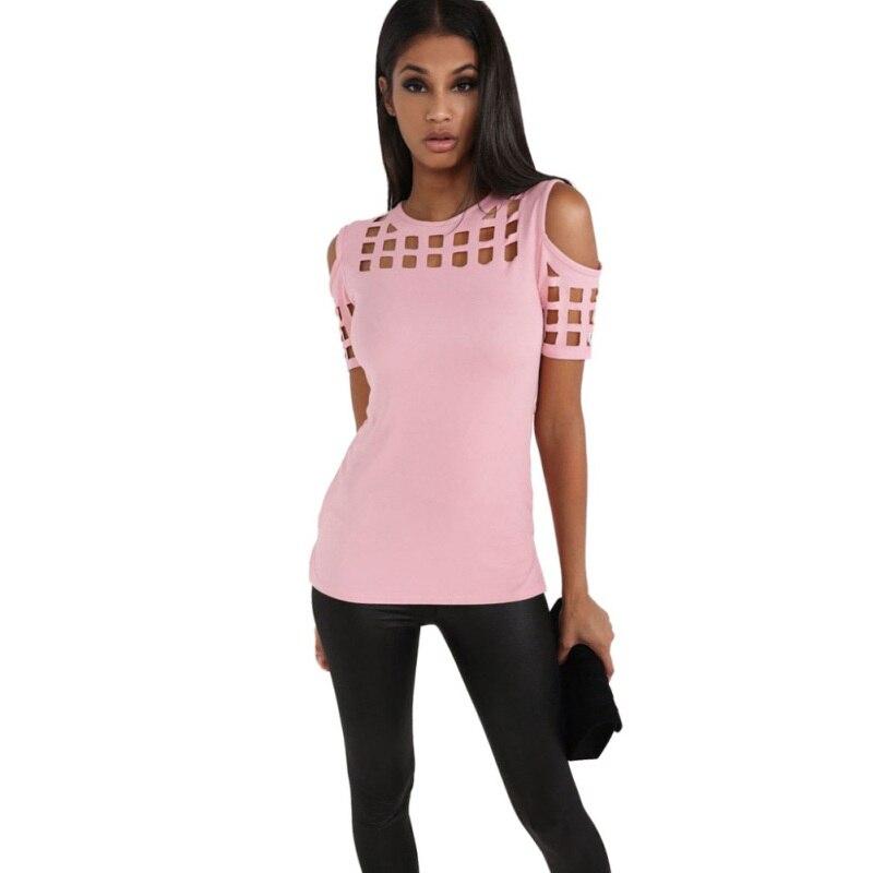 Summer Blusas Sexy Shirts Slim Hollow Out Shirts Plus Size Block Cold Shoulder Blouse Slim Blusa Feminino Women Tops
