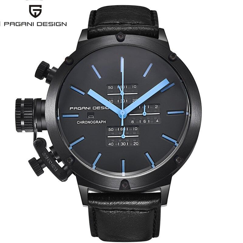Reloj de pulsera deportivo con cronógrafo automático a prueba de agua de lujo para hombre, reloj de cuarzo militar negro con diseño PAGANI-in Relojes de cuarzo from Relojes de pulsera    1