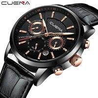 CUENA Men Leather Watch Sport Waterproof Quartz Wristwatch Water Resistant Watches Calendar Clock Business Watch 6805P