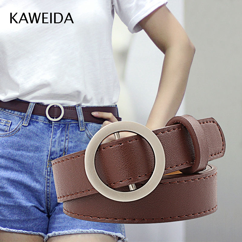 KAWEIDA Fashion 2018 Women's Accessories Female Thin Solid PU Leather Circle Smooth Buckle Belts Ladies Casual Belt For Jeans