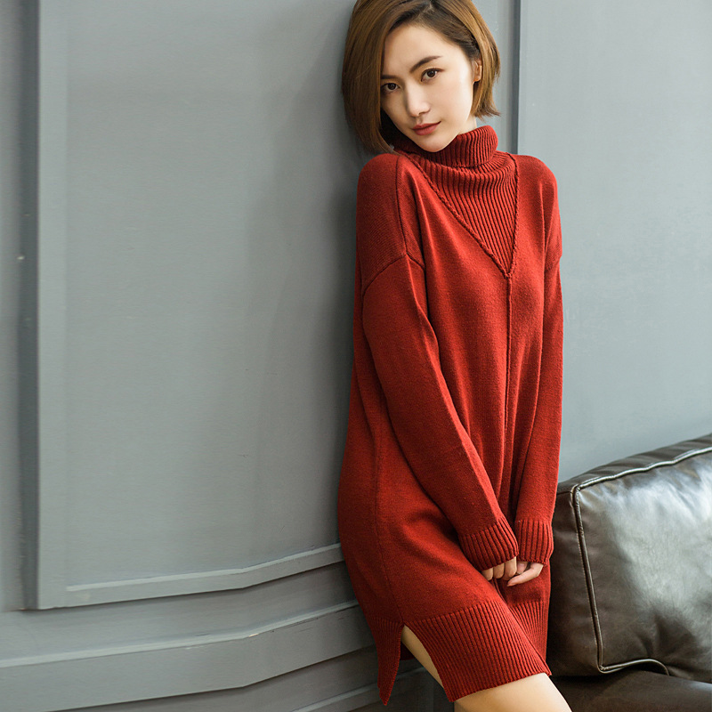 2018 new women Cashmere coat cloth Long sweater dress Big V design Turtleneck Pullovers solid color keep worm loose sweater