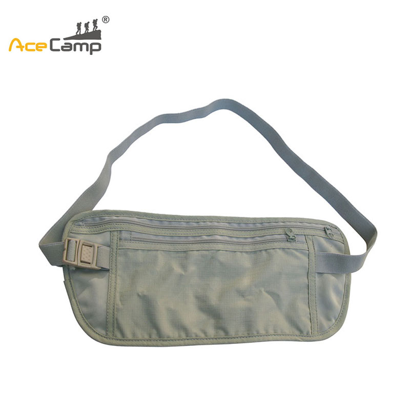 AceCamp Gray Camping Waist Bag Money Wallet Bags Passport Holders Hiking Traveling Waist Pouch Purse With Adjustable Belt
