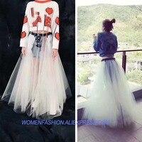 Для женщин юбка тюля и джинсовые юбки большой юбка длинная белые пикантные Тюль rave пачка модная фатиновая Юбка faldas saias