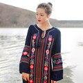 Де Голубь горячие продажа национальный стиль цветок вышивка бахромой женщин платье V-образным Вырезом чешские femme одежда урожай длиной макси платья