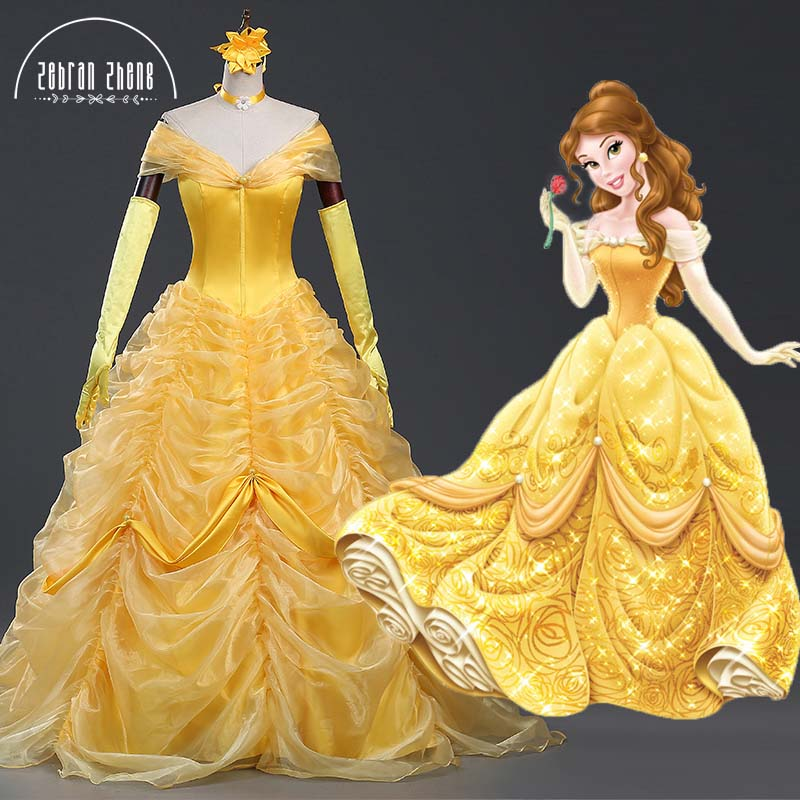 New Style Beauty And The Beast Dress Princess Belle Luxury Top Quality Cosplay Costume Dress For Women Halloween Costumes