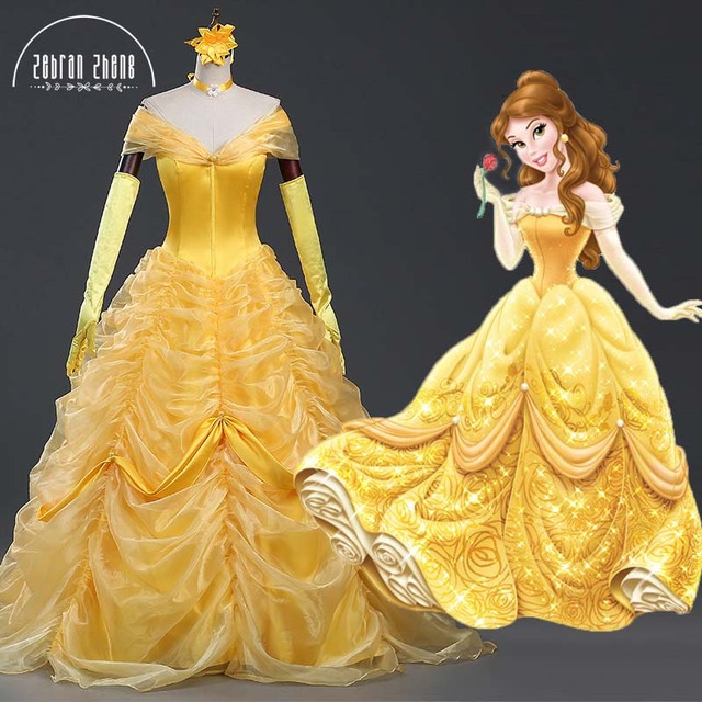 4466d28c14c New Style Beauty And The Beast Dress Princess Belle Luxury Top Quality  Cosplay Costume Dress For Women Halloween Costumes