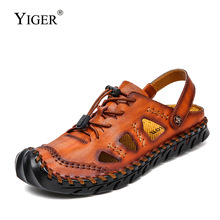 YIGER New men sandals outside man beach male casual non-slip genuine leather large size leisure summer shoes 290
