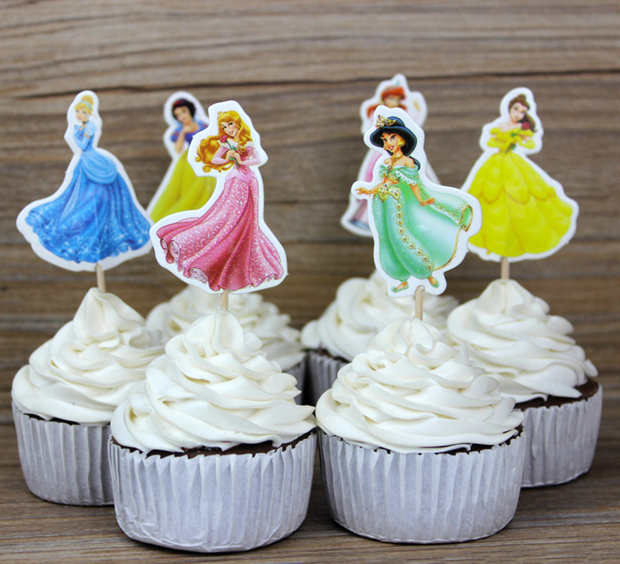Admirable 24Pcs Lot Cinderella Princess Wedding Decoration Cake Topper Picks Funny Birthday Cards Online Overcheapnameinfo