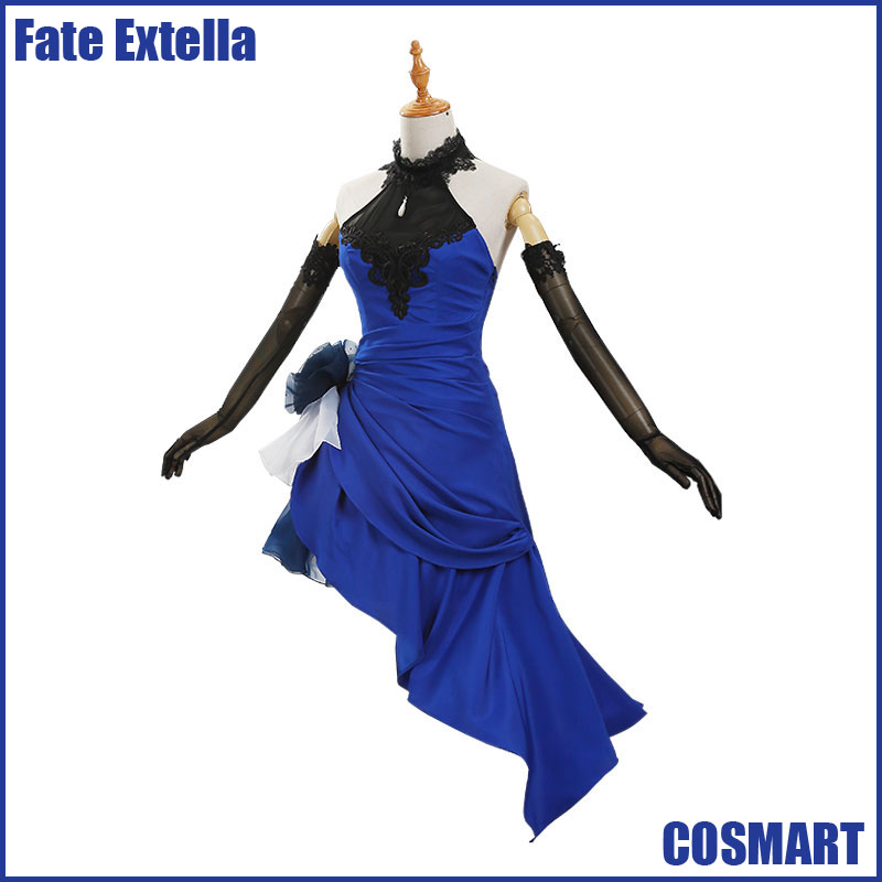 [STOCK]Anime Fate Extella Saber Arturia Uniform Blue Cocktail Dress Halloween Cosplay costumes for women NEW 2018 free ship free ship gou matsuoka long wine red women style anime cosplay wig one ponytail 370f