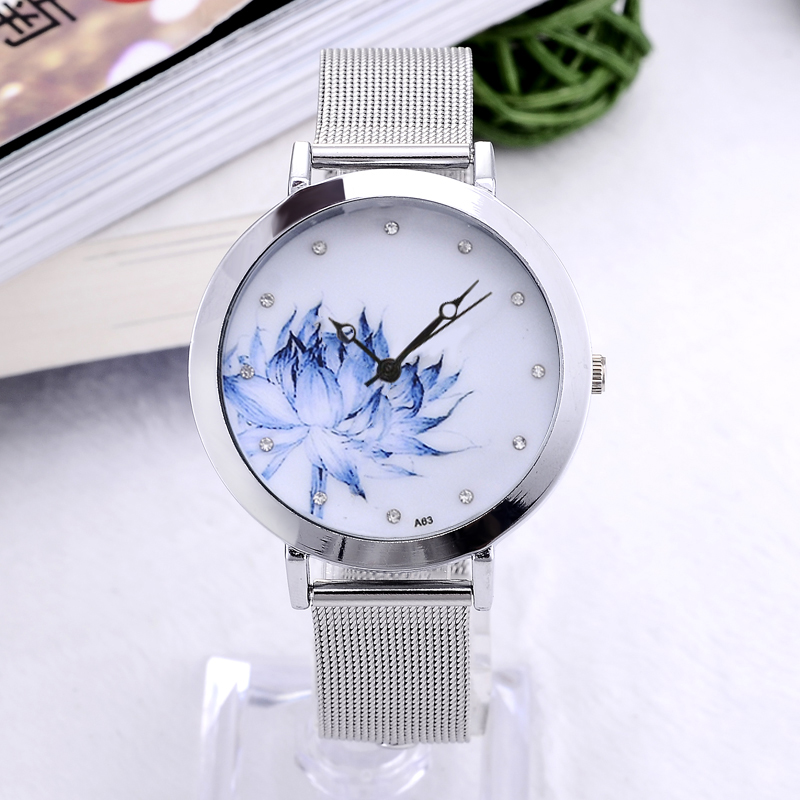 Women Dress Watch Eiffel Tower Flower Quartz Wristwatch New Fashion Stainless Steel Butterfly Watches Elegant Mujer Relojes