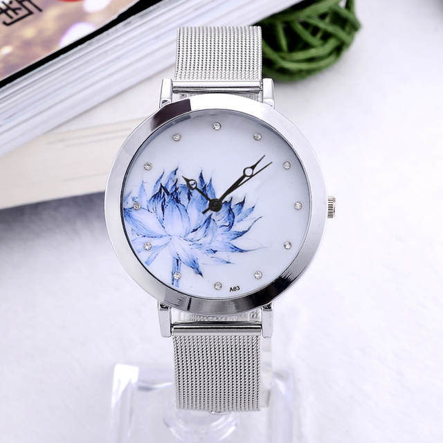 Women Dress Watch Eiffel Tower Flower Quartz Wristwatch New Fashion Stainless St
