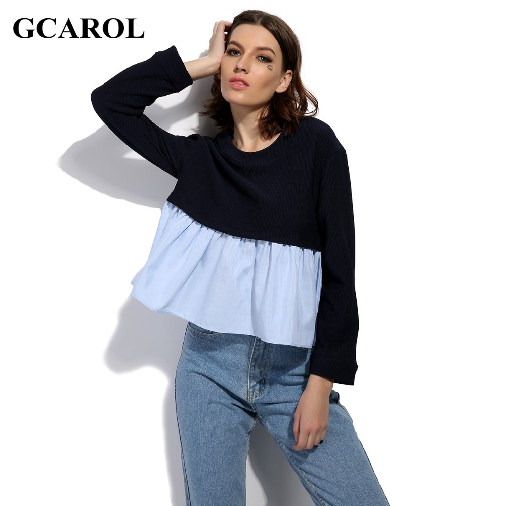 GCAROL 2017 Women Euro Style Two Tone Color Blouse Fashion Casual Spliced Design Cropped Tops High