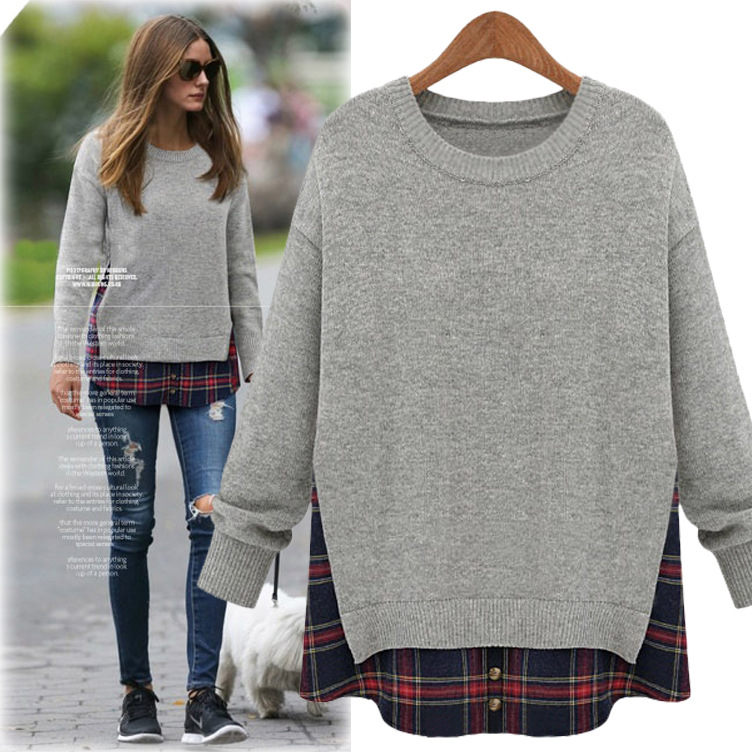 2016 New Women Clothes Fashion Plus Size Loose Faux Two Piece Plaid Top Long Sleeve Spring