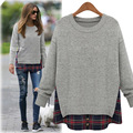 2016 New Women Clothes Fashion Plus Size Loose Faux Two Piece Plaid Top Long Sleeve Spring Autumn O-Neck Shirt Casual T-shirt
