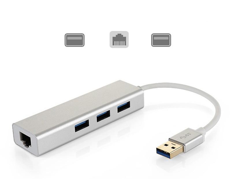 3 Port USB 3.0 HUB 10/100/1000 Mbps USB To RJ45 Gigabit Ethernet Wired Network Card LAN Adapter For Windows Mac OS