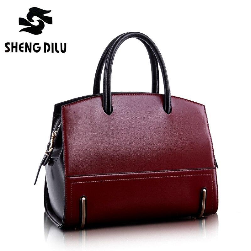 Fashion noble handbag shengdilu brand 2017 new women genuine leather tote shoulder bag bolsa feminina free Shipping