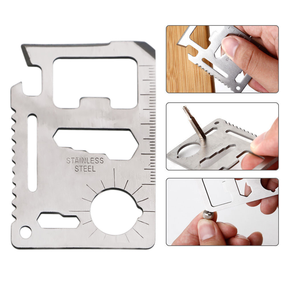 11 in 1 Stainless Steel Card Wallet Mini Multi-tool Survival Pocket Tactical Multitool Card Multi Purpose Camping Tools  multi purpose stainless steel keyring tool