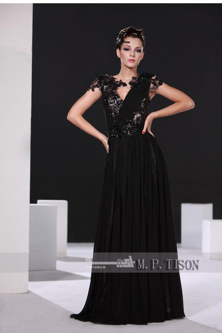 party prom gown v-neck vestido de renda 2014 new fashion sexy women dress black lace cap sleeve long evening dress free shipping