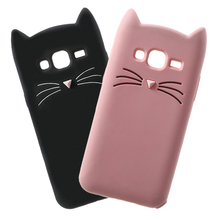 Cute 3D Cartoon Beard Cat Silicone Soft Phone Case For Samsung Galaxy J1 J3 J5 J7 A3 A5 A7 2017 2016 2015 Core Grand Prime Cover