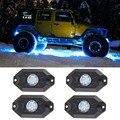 RGB Luz CONDUZIDA Da Rocha Kits Luzes de Controle Remoto Bluetooth para Fora estrada ATV SUV Caminhão Do Carro Do Veículo Barco com Calendário & Música modo