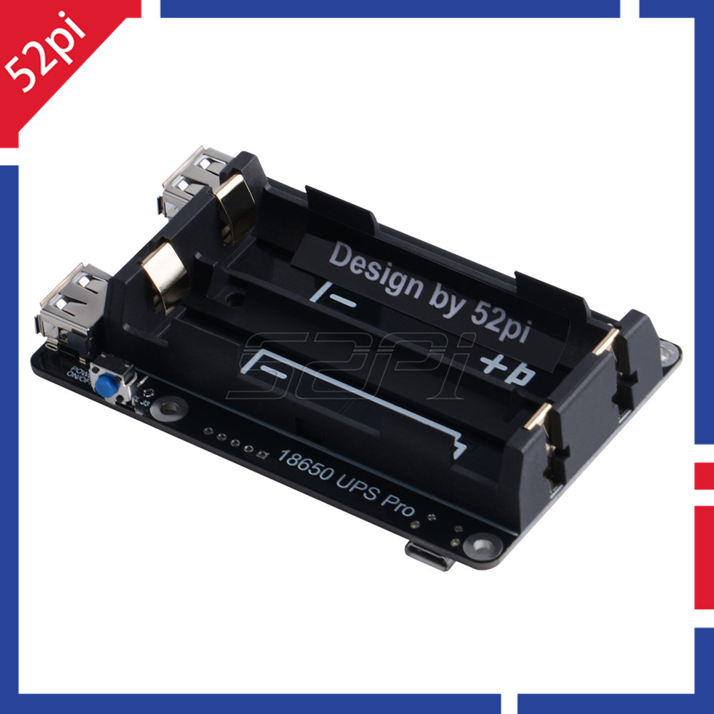 52Pi Original 18650 UPS Pro Power Supply Device Extended Two USBA Port For Raspberry Pi 3B+ / 3B, Not Include 18650 Battery