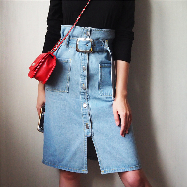 70s Style High Weist Denim Skirt