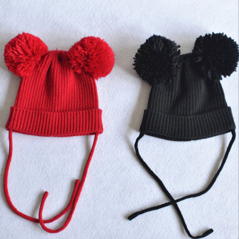 Aliexpress.com   Buy Double Giant Pom Pom Baby Hat Kids Earflap Beanie Hat  Winter Knitted ELF Baby Hat Photo Props SW113 from Reliable hat custom  suppliers ... fac2fac5263