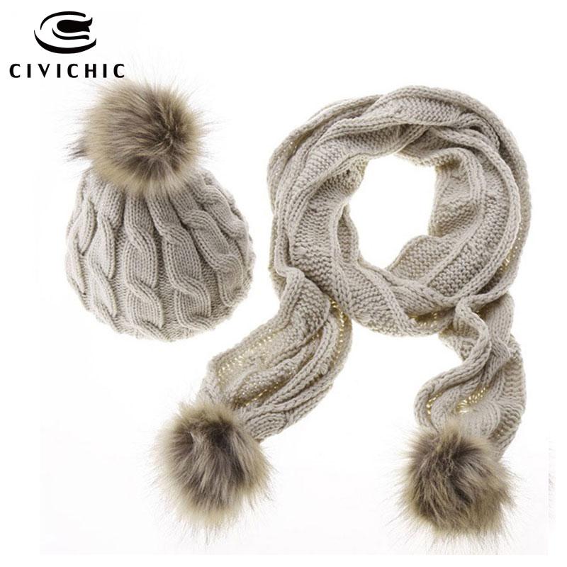 CIVICHIC Hot Fashion Thicken Knit Scarf Hat 2 Piece Set Pompon Beanies Crochet Shawl Faux Fur Neck Warmer Winter Headwear SH136