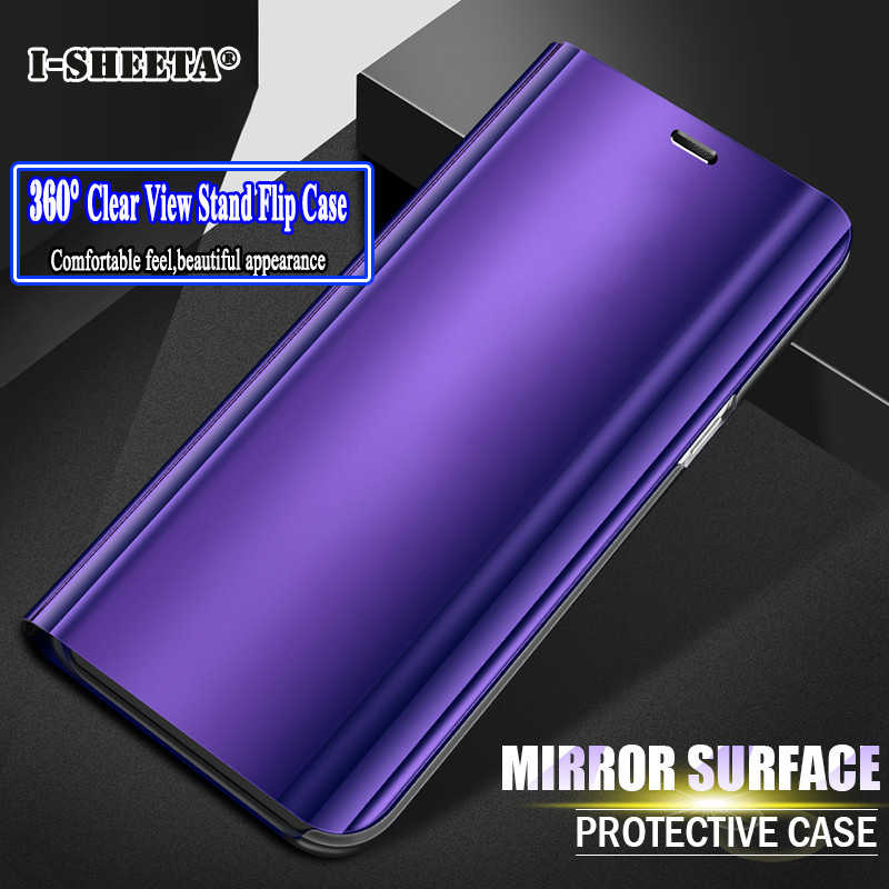 360 Full Protection Hard Transparent Plating Clear Smart View Mirror Stand Filp Case for Xiaomi Redmi Note 5 6 Pro 4X 4 Cover