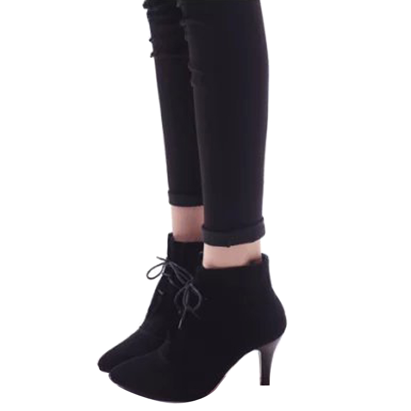 ФОТО 2015 new winter women boots nubuck leather lace-up ankle boots for women pointed toe thin high heels fashion women shoes DT26